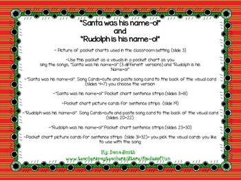 """Santa/Rudolph is his name-o!""  pocket chart song"