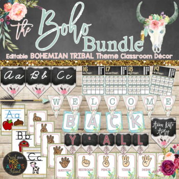Boho Classroom Decor Bundle - Editable ⭐❤️