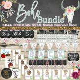 Boho Classroom Themes Decor Bundle - Bohemian Shabby Chic Editable