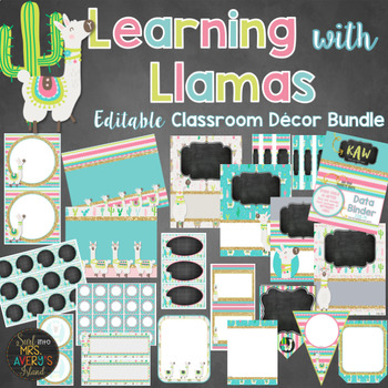Llama Theme Classroom Decor Bundle Editable
