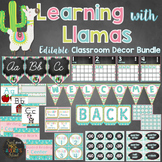 Llama Theme Classroom Decor Bundle Editable