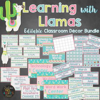 Llama Classroom Theme Decor Bundle Editable