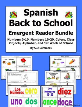 Spanish Back to School Emergent Readers Bundle - 6 Sets of