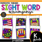 Kindergarten Color by Code Sight Word Patriotic | Memorial Day | 4th of July