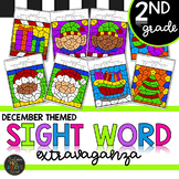 Second Grade Sight Word Color by Code Christmas Activities for December