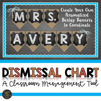 Dismissal Chart - Editable Burlap for Farmhouse