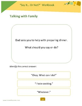 """Say It... Or Not?"" Social Skills Workbook"