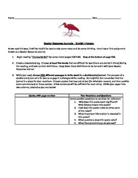 """""""Scarlet Ibis"""" Reader Response"""