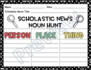 ☀️ Scholastic News Noun Hunt
