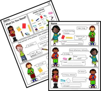 """School Supplies"" Graphic Reader for ESL, Upper Elementary"