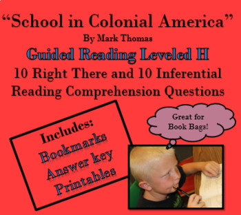 """School in Colonial America"" 'Read to Self' 'Read to Buddy' guided questions"