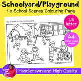 """""""Schoolyard/Playground"""" Coloring Sheet/Colouring Page (Ele"""