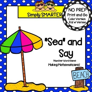 """""""Sea"""" and Say:  NO PREP Beach Themed Number Word Board Game"""