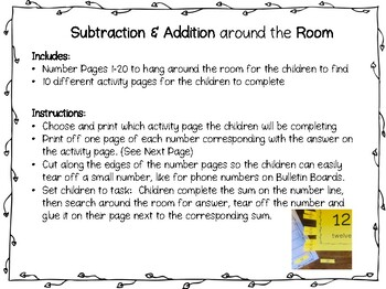 """""""Search the Room"""" Addition and Subtraction up to 20 on a Number Line"""