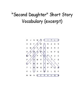 """""""Second Daughter"""" Novel Excerpt Vocabulary Word Search With Definitions"""