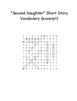 """""""Second Daughter"""" Novel Excerpt Vocabulary Word Search Words Only (Pitts Walter)"""