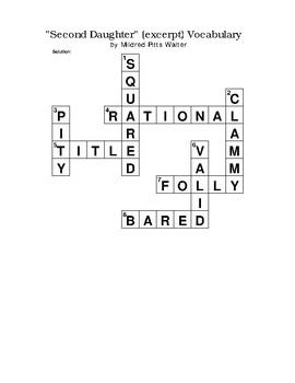 """Second Daughter"" (excerpt) Vocabulary Crossword Puzzle No Bank Pitts Walter"