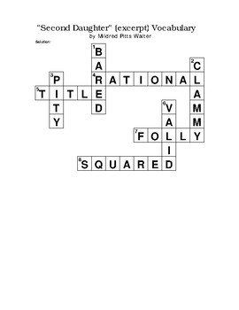"""""""Second Daughter"""" (excerpt) Vocabulary Crossword Puzzle WITH Bank Pitts Walter"""