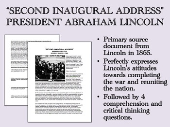 """Second Inaugural Address"" - Abraham Lincoln - US History/APUSH"