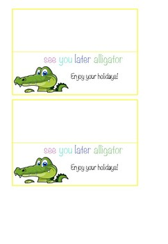 'See you later alligator' label.