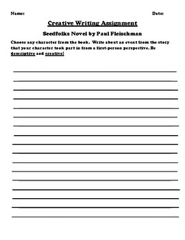 """Seedfolks"" by Paul Fleischman Creative Writing"