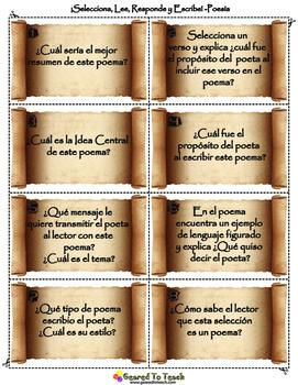 ¡Selecciona, Lee, Responde y Escribe! Actividad Poesia