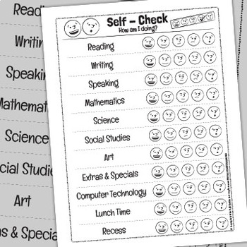 """""""Self - Check 2"""" Subject Specific Student Progress & Self - Assessment Form"""