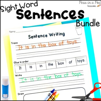 Cut and Paste Sight Words Sentences 1, 2, & 3