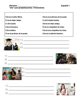 "FLES ""Ser"" for Presentations / Pronouns"