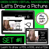 (Set 1) Let's Draw a Picture - Green Screen Virtual Backgrounds for Zoom