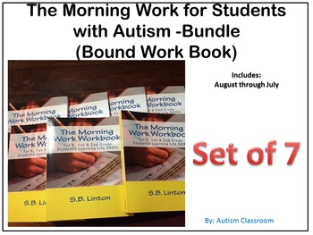 (Set of 7) Bound Workbook: Morning Work for Students with Autism Bundle