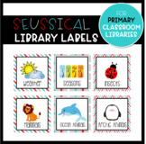 "Red and Turquoise ""Seussical"" Library Labels for Primary Classroom"