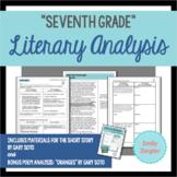 """Seventh Grade"" by Gary Soto Literary Analysis Graphic Organizers"