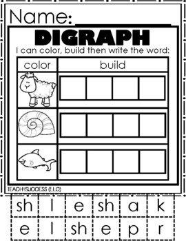 /Sh/ Digraphs (Word Work Journal)