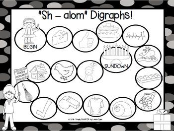 """Sh - alom"" Digraphs!:  NO PREP Hanukkah Themed Board Game"