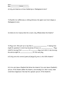 """""""Shakespeare in the Classroom"""" Supplementary Worksheet"""