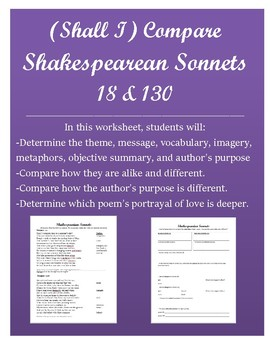 Compare Shakespearean Sonnets 18 and 130