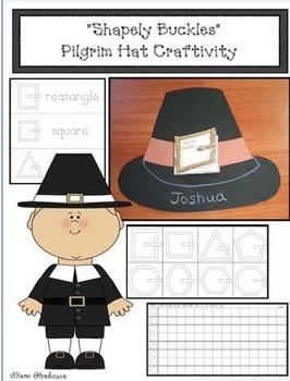 """Shapely Buckles"" A Pilgrim Hat 2D Shape Craftivity & Booklet"