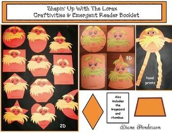 """Shapin' Up With Seuss!"" Lorax 2D & 3D Shape Craftivity, Games & Emergent Reader"