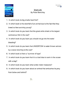 """""""Shark Life"""" By Peter Benchley, Battle of the Books Questions"""