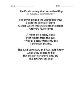 """She Dwelt among the Untrodden Ways"" by Wordsworth Memorization Worksheets"