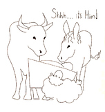 """Shh... it's Him"" Christmas coloring nativity"