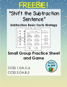 """""""Shift the Subtraction Sentence"""" Basic Fact Strategy Freebie!"""