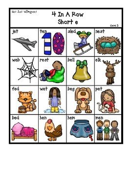 Colored 'Short e' cvc / simple word Bingo-style Four In a Row Game