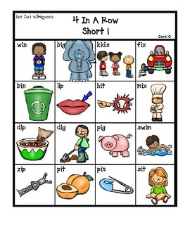 Colored 'Short i' cvc / simple word Bingo-style Four In a Row Game