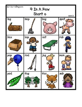 Colored 'Short o' cvc / simple word Bingo-style Four In a Row Game