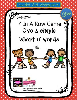 Colored 'Short u' cvc / simple word Bingo-style Four In a Row Game