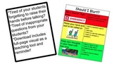 """WHEN to Raise Hand for help! """"Should I Blurt Out?"""" Graphic Organizer."""