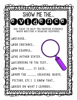"""""""Show me the evidence..."""" classroom poster"""