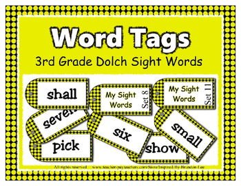 ! Sight Word Tags for 3rd Grade Leveled Reading